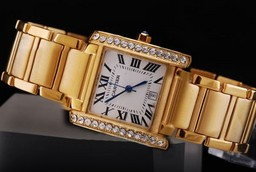 Fake Cool Cartier Montre Santos Demoiselle Urværk Diamant Bezel