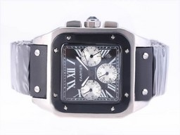 Fake Fancy Cartier Santos 100 Kronograf Automatiske med sort ski